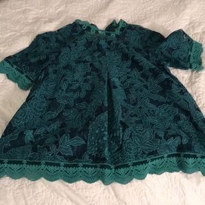 Anthropology green lace top